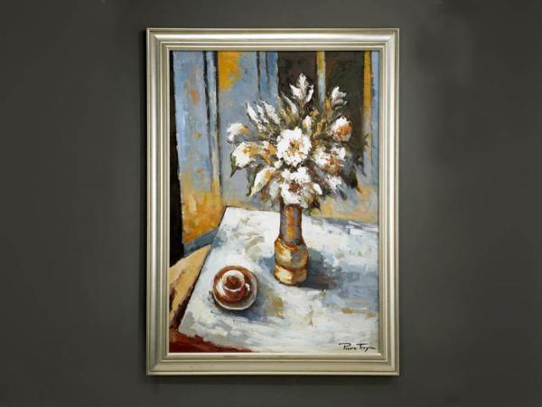 Imagen 1 de Oleo Flores blanca s con marco