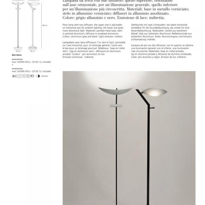 Lámparas de Artemide diseño A013800 Terra Zen de Lámpara pie nXw0P8Ok
