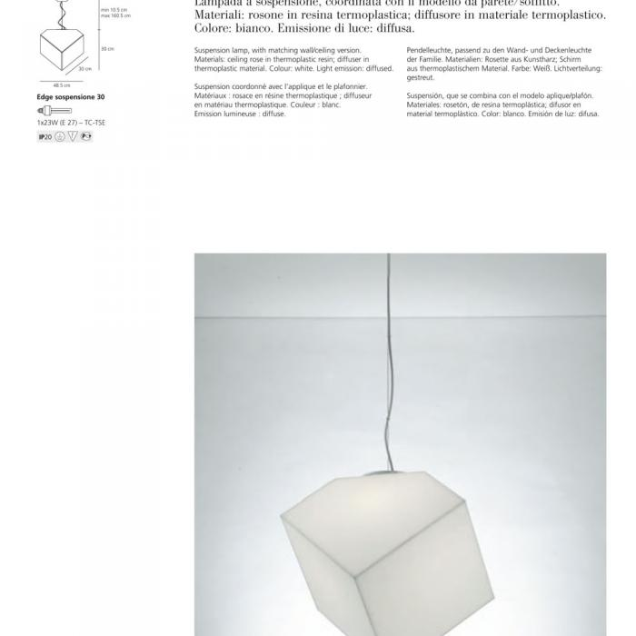 ARTEMIDE LAMPADA EDGE 21 PARETE-SOFFITTO COLORE BIANCO 1292010A