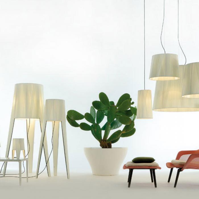 Imagen 1 de Dress cone Pendant Lamp E27 1x70W white lampshade and floron Chrome Black