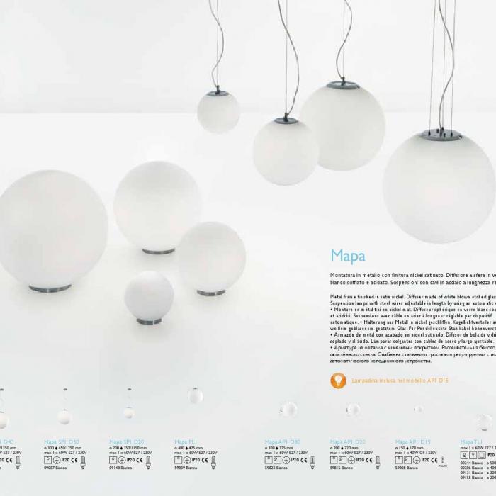 Ideal Lux Mapa Lampada da tavolo TL1 D40 ø300 00206