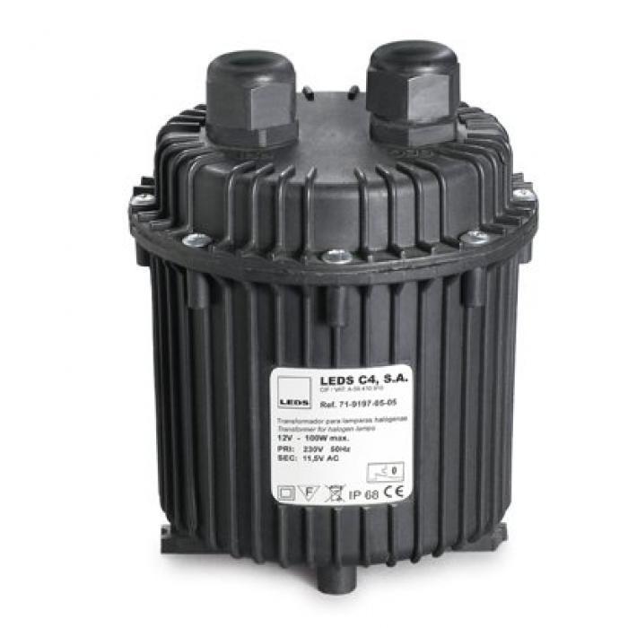 Imagen 1 de Transformador estanco para lámparaas Halógenas 230/12V DC 100W IP68 1m