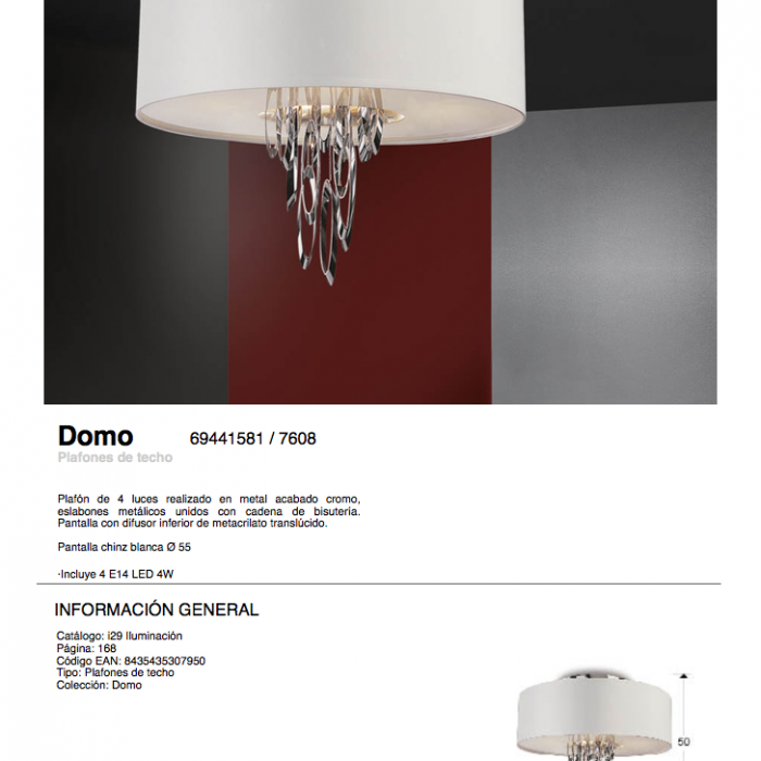 Brillante Domo LED Cromo Ø55 4xE14 4W Plafón 34Rj5AqL