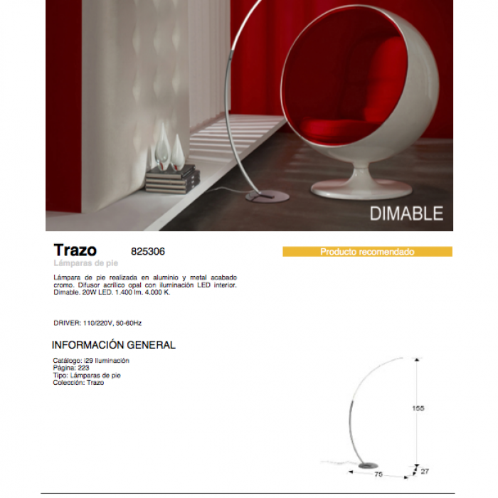 Trazo Lámpara de pie LED 20W 75x155x27cm Cromado y opal