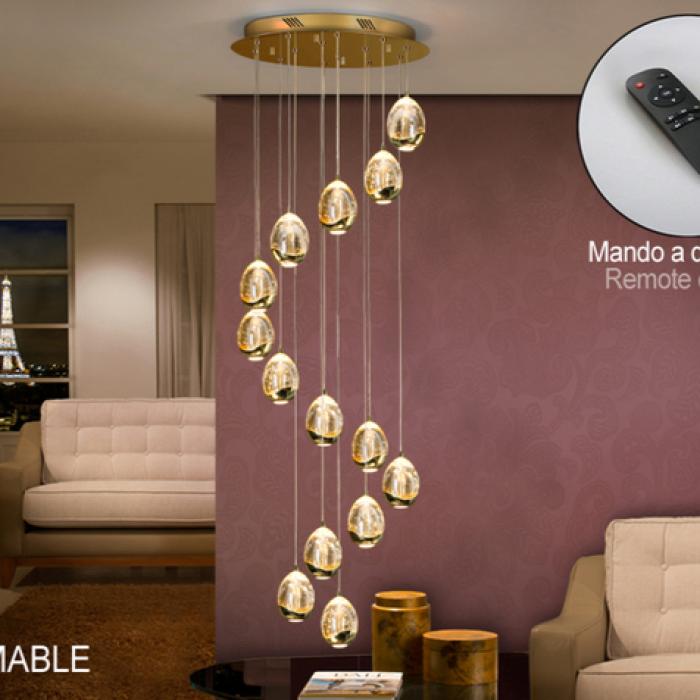 Imagen 1 de Rocío Lámpara colgante 70W LED ø50x100cm - Dorado y transparente