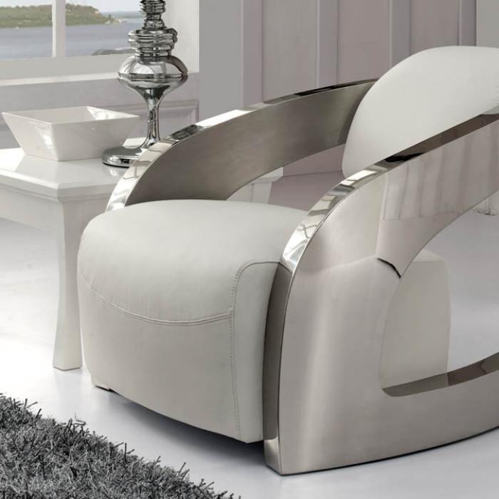 Imagen 1 de Amanda sillón blanc cuir italien