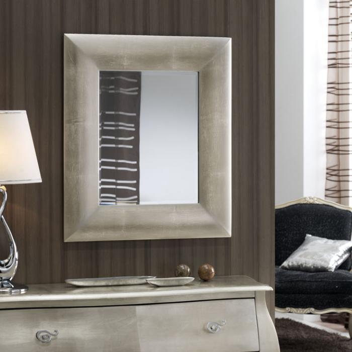 Schuller mara specchio rettangolare argento 846322 l mparas de dise o - Specchio argento moderno ...