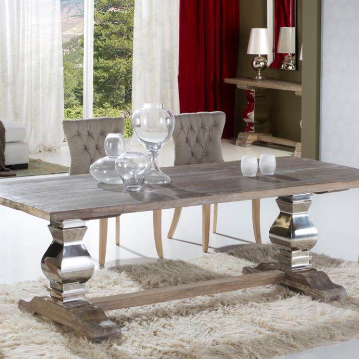 Imagen 1 de Antica 240 table de salle à manger 240x78x100cm Bois avec patina blanc