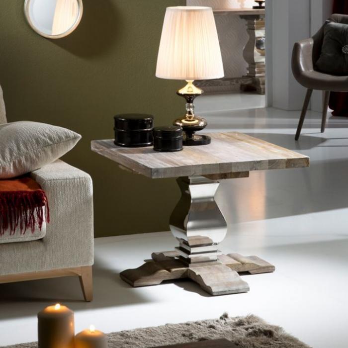Imagen 1 de Antica mesa de rincón 55x70cm - Madera olmo con patina blanca