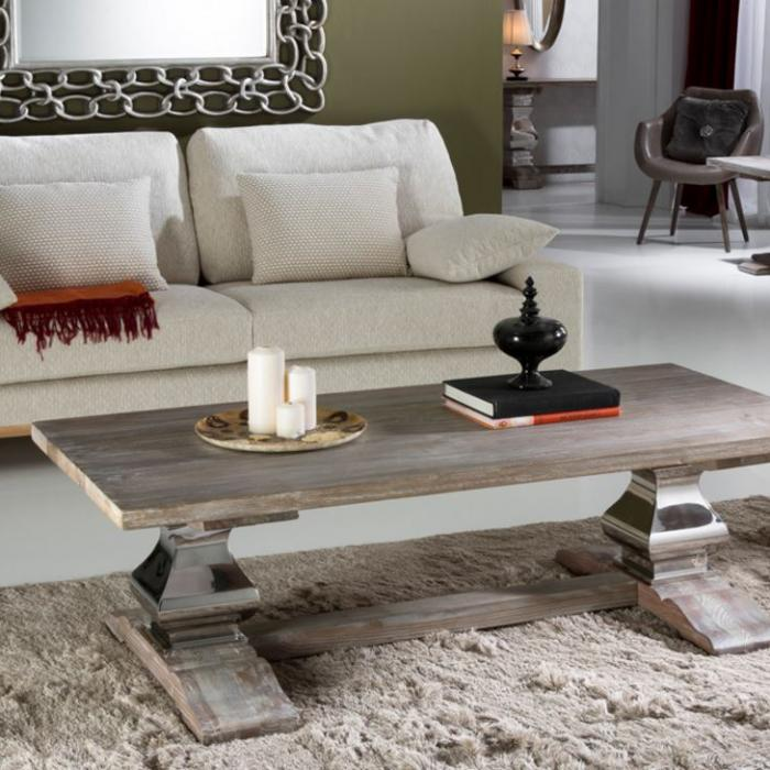 Imagen 1 de Antica mesa centro 50,5x160cm - Madera olmo con patina blanca