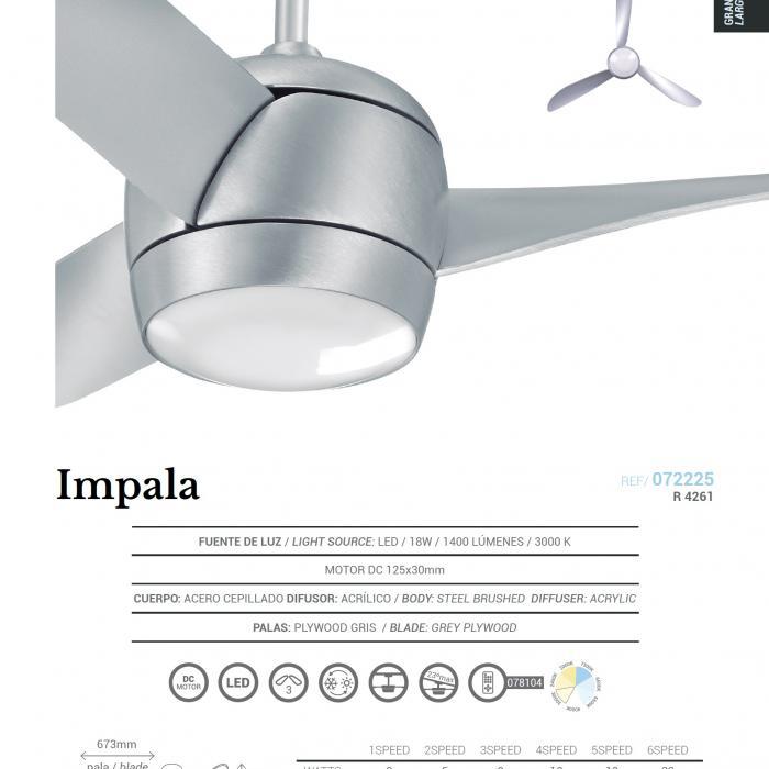 Sulion Impala LED Ventilador 18W Acero 72225 Lámparas de
