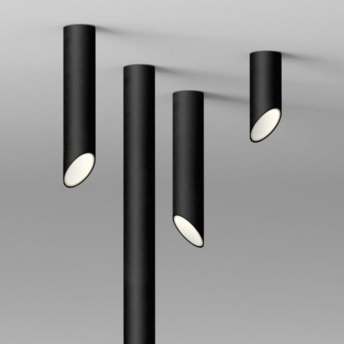 Imagen 1 de 45º Tubo largo Plafón 1xLED 6,1W - Lacado negro mate