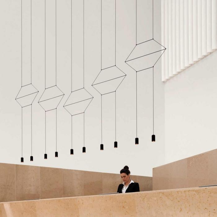 Imagen 1 de Wireflow Colgante 2D LED 6x3w versión 2 Lacado negro