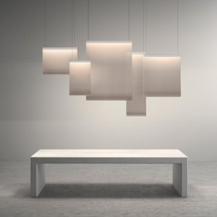 Imagen 1 de Curtain Lampe Suspension 150x110cm 4xLED 6,3W + 4XLED 8,4W dimmable - abat-jour blanc et perfil Laqué blanc mate