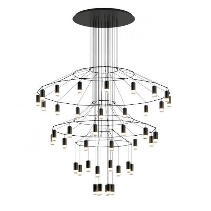 Imagen 1 de Wireflow Lineal Lámpara Colgante 195cm 42xLED 4,5W dimmable - Lacado negro