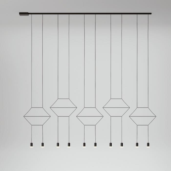 Imagen 1 de Wireflow Lineal Lámpara Colgante 200cm 6xLED 4,5W dimmable - Lacado negro