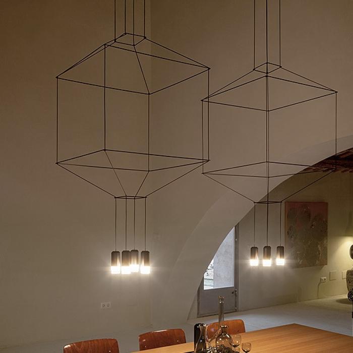 Imagen 1 de Wireflow Lámpara Colgante ø30cm 4xLED 4,5W dimmable (sin Difusor de vidrio) - Lacado negro
