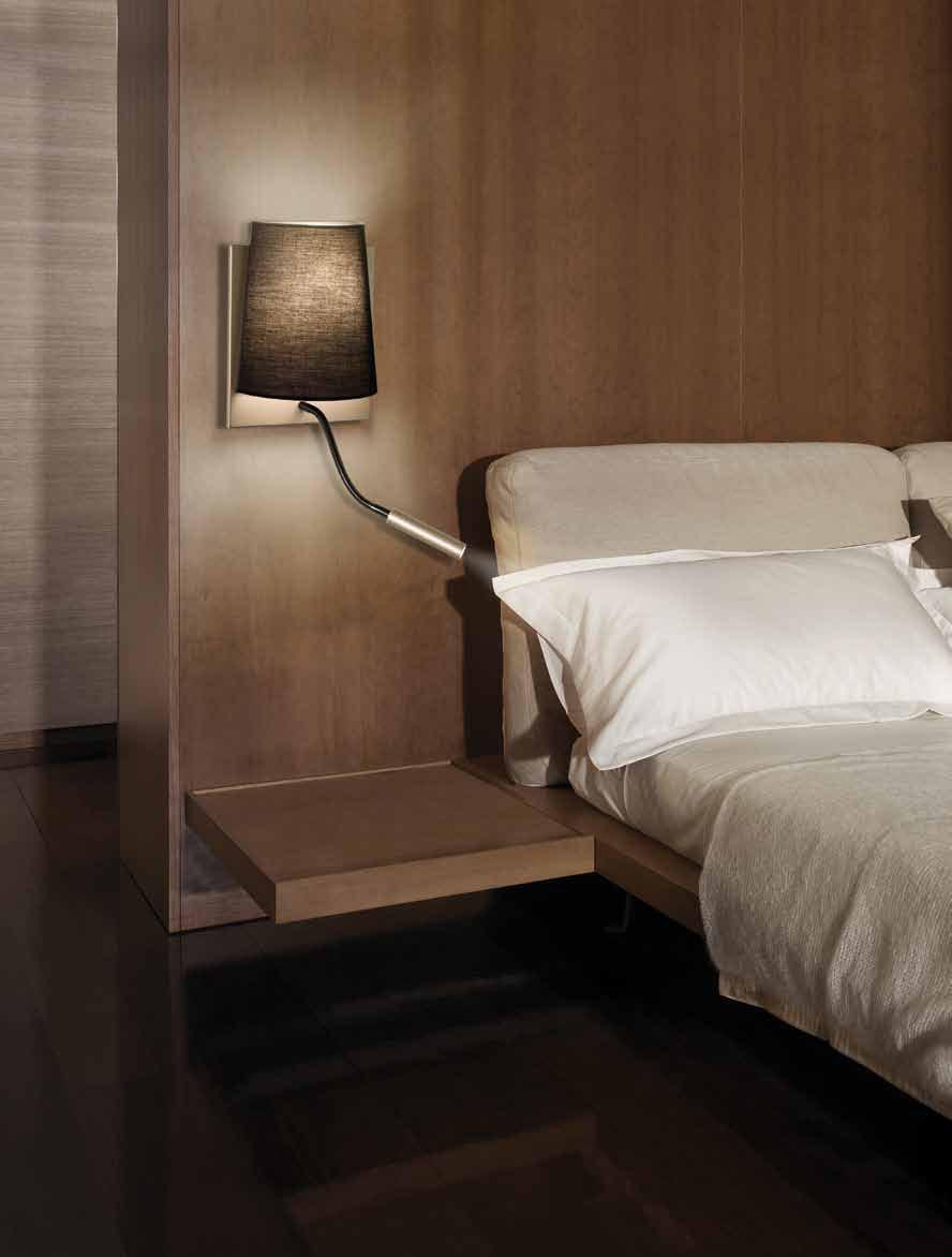 Almalight h tel applique abat jour 60w led 3w 4540 018sl - Lampara lectura cama ...