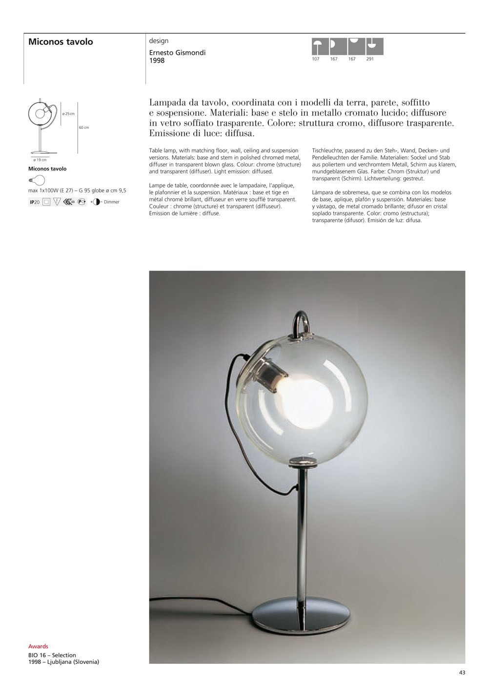 Artemide Miconos Table lamp not adjustable A000450 -> Lampada Chimera Artemide Neon