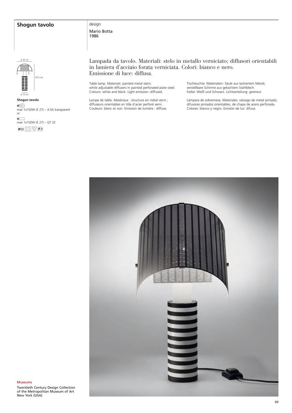 Artemide Shogun Lampada da tavolo Nero/bianco A000300