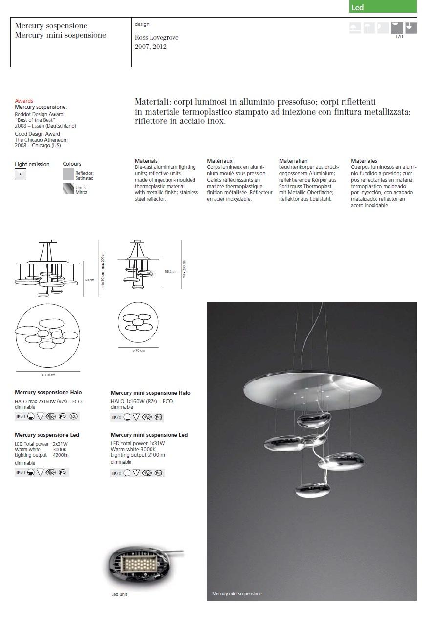 Mercury Lámpara Colgante R7s 2x160w acero Inox Artemide Foto