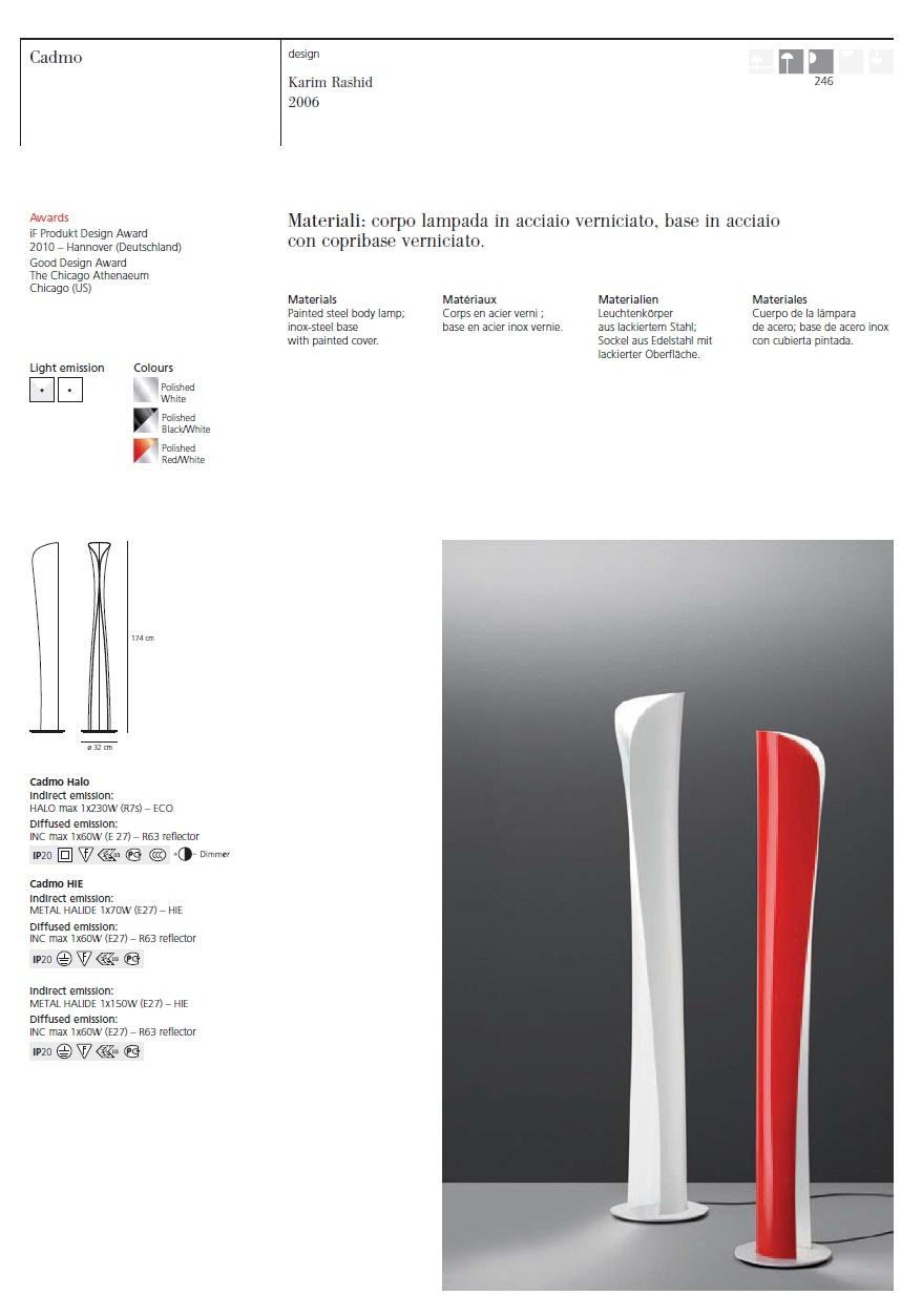 Cadmo lámpara de Pie R7s 1x230w + E27 1x60w negro blanco Artemide Foto