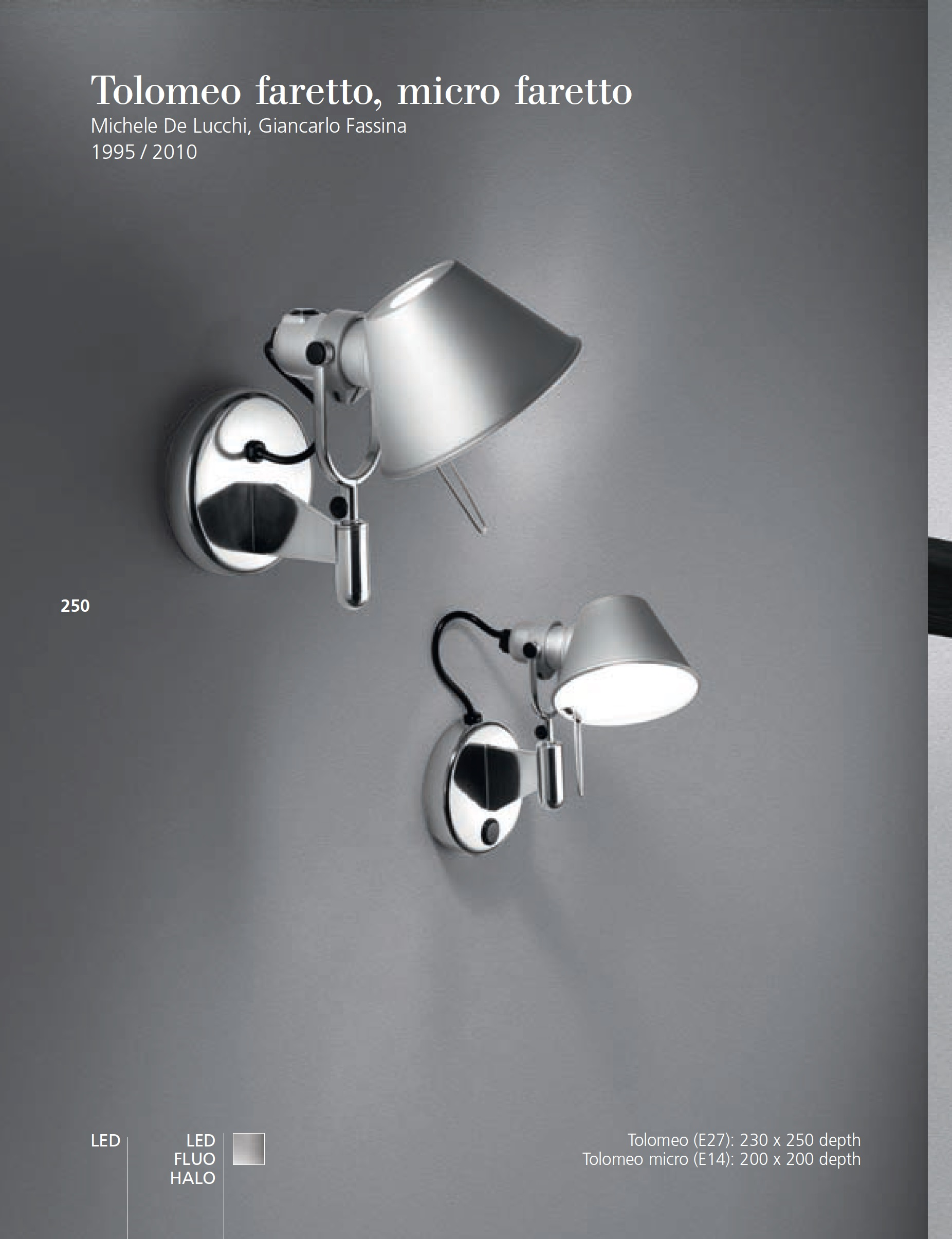 Artemide Tolomeo Micro Faretto Wall Lamp Led 8w A043500