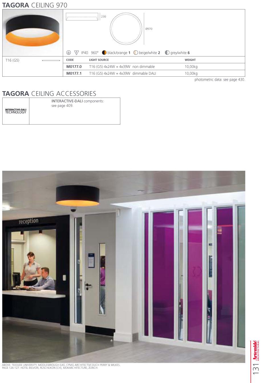 artemide architectural tagora 270 fluo to tel gr14q 1 m018660 l mparas de dise o. Black Bedroom Furniture Sets. Home Design Ideas