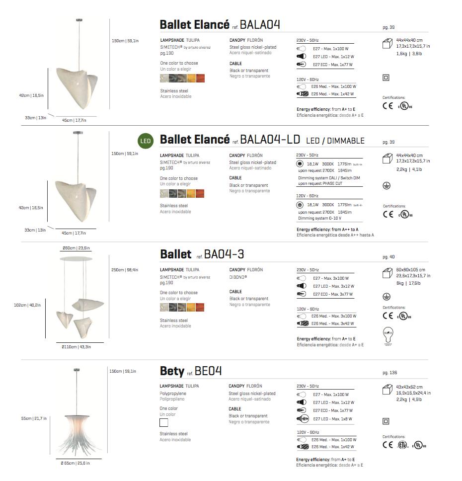 Arturo Alvarez Ballet Elanc 233 Lamp Pendant Lamp Led Bala04