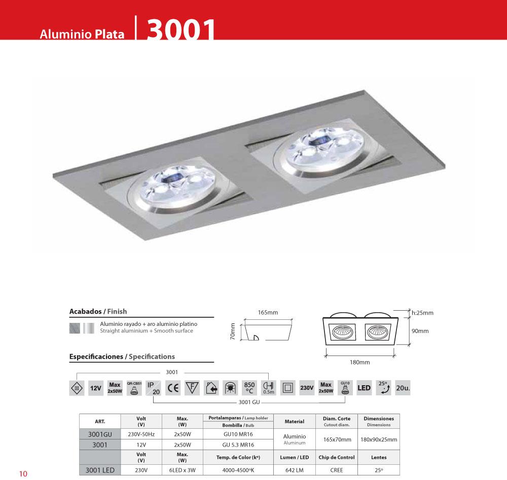 bpm lighting 3001 recessed doble rectangular 2xled 3001. Black Bedroom Furniture Sets. Home Design Ideas