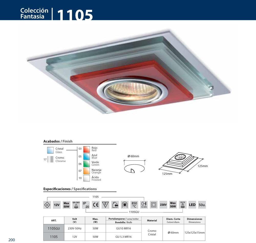 bpm lighting 1105 aro empotrable de crystal cuadrado 1105. Black Bedroom Furniture Sets. Home Design Ideas