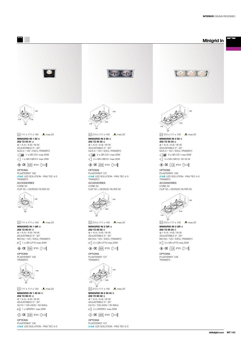 Minigrid in 2 50 hi Frames Empotrables GU10 2x50w Aluminio Negro Delta Light Foto