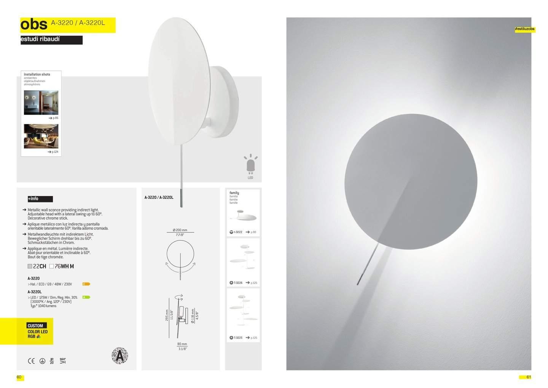 OBS A 3220 Aplique ø35cm LED 17,5w 2700K regulable blanco mate Estiluz Foto