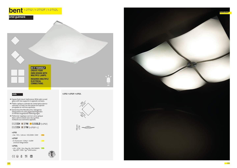 Bent T 2752 ceiling lamp R7s 1x200w max Chrome Estiluz Image