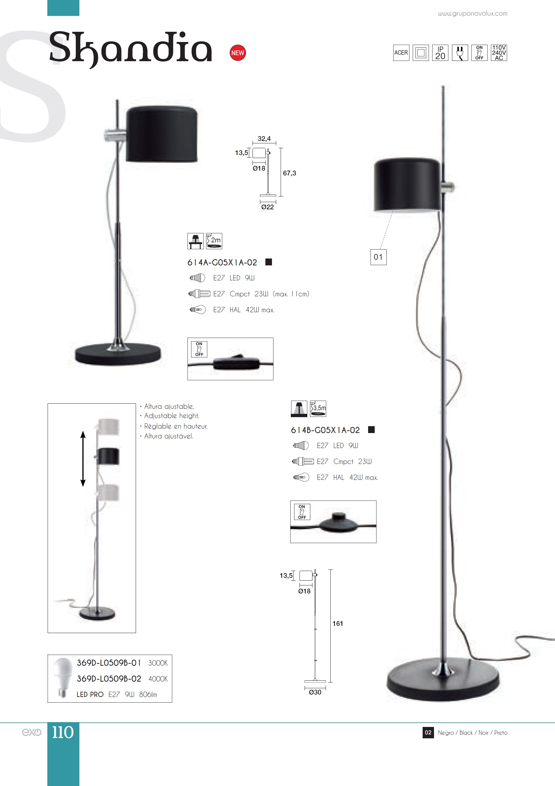 Exo lighting skandia l mpara de pie lectura 161cm 614b - Lamparas de pie lectura ...
