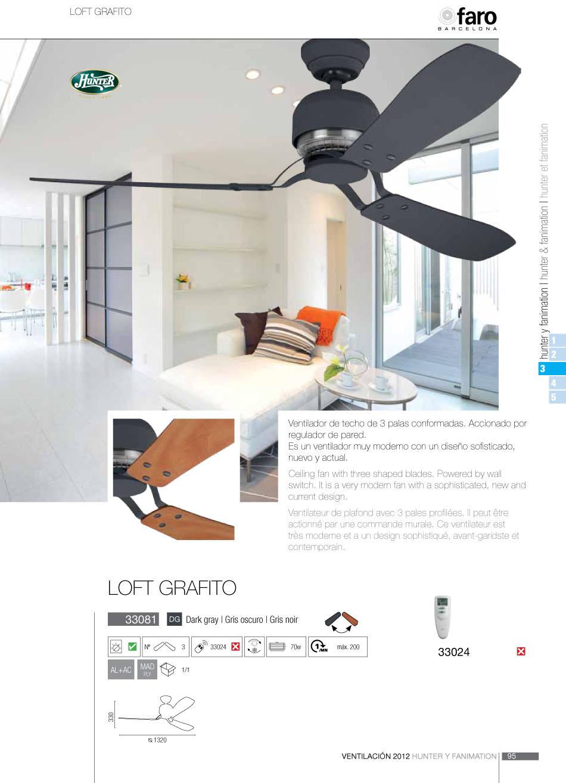 Faro loft grafito hunter ventilador techo 33081 l mparas - Ventilador techo diseno ...