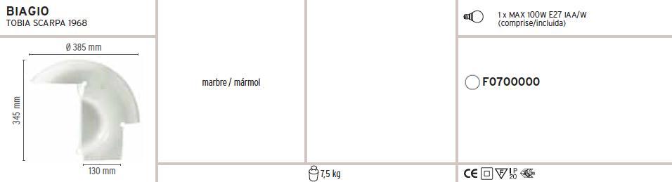Biagio Sobremesa 1x100W E27 mármol blanco Flos Foto