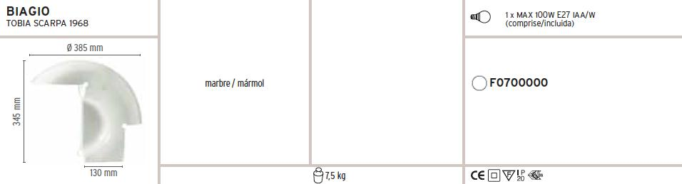 Biagio Lampe de table 1x100W E27 mármol blanc Flos Image