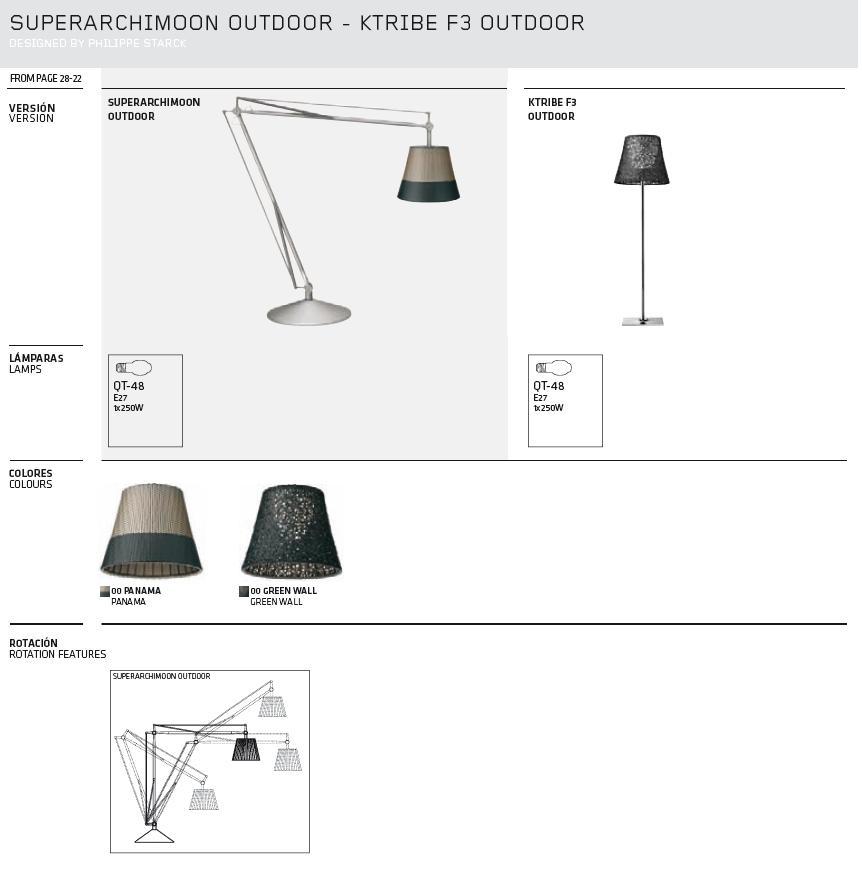 Superarchimoon lámpara de Lampadaire Extérieure IP 55 E27 QT48 Titane Panama Flos Image