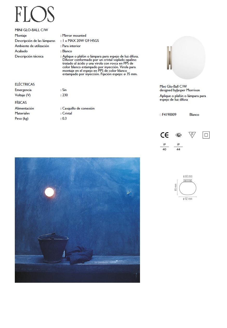 Flos Glo Ball Mini C W Wall Lamp Ceiling Lamp F4190009