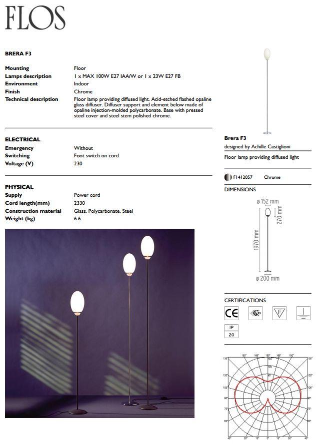Brera F3 lámpara de Pie 197cm Cromo Flos Foto