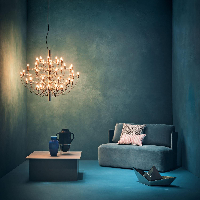 Flos 2097 30 lampada a sospensione 30x15w e14 a1400059 for Flos lampadario sospensione