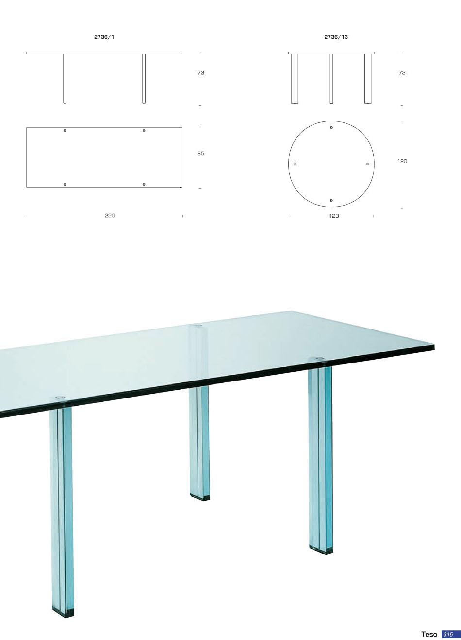 Fontana arte teso mesa rectangular vidrio float 2736 1 for Mesa de vidrio rectangular