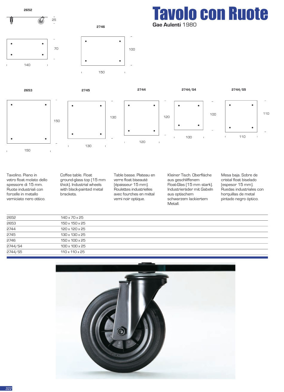 Fontana arte tavolo tavolino con ruote 2745 - Tavolo con ruote gae aulenti ...