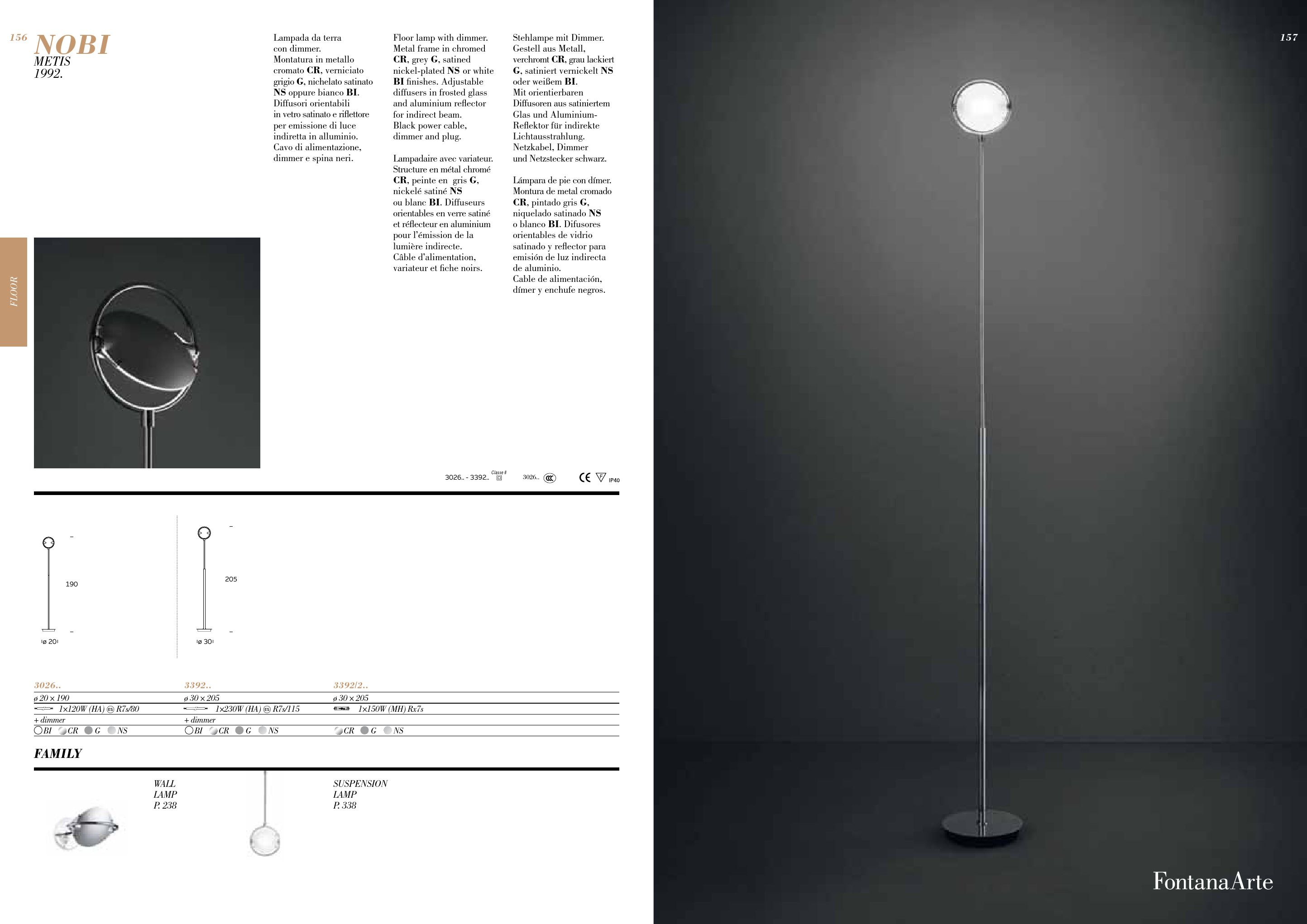 Fontana Arte Nobi lámpara of Floor Lamp ø20×190 3026CRNEW ...