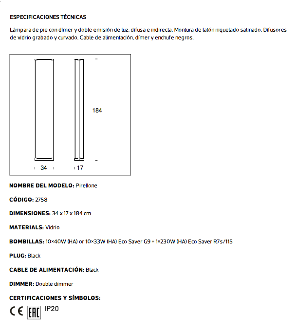 Fontana Arte Pirellone L 225 Mpara De Pie 10 215 40w Blanco 2758