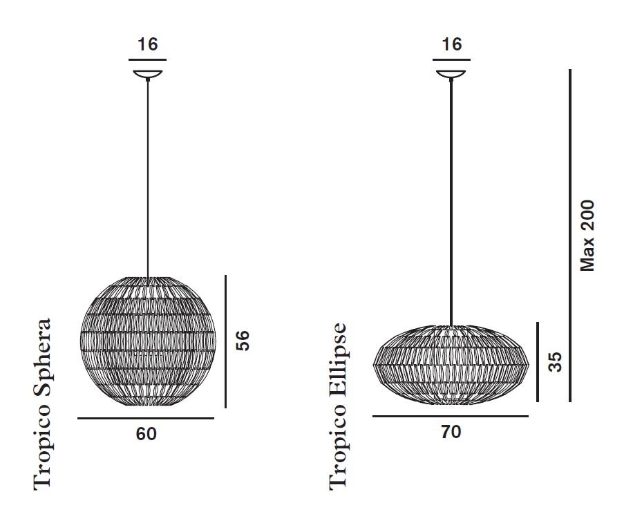 foscarini tropico ellipse pendelleuchte 5 meter 179074 50 sp5 l mparas de dise o. Black Bedroom Furniture Sets. Home Design Ideas