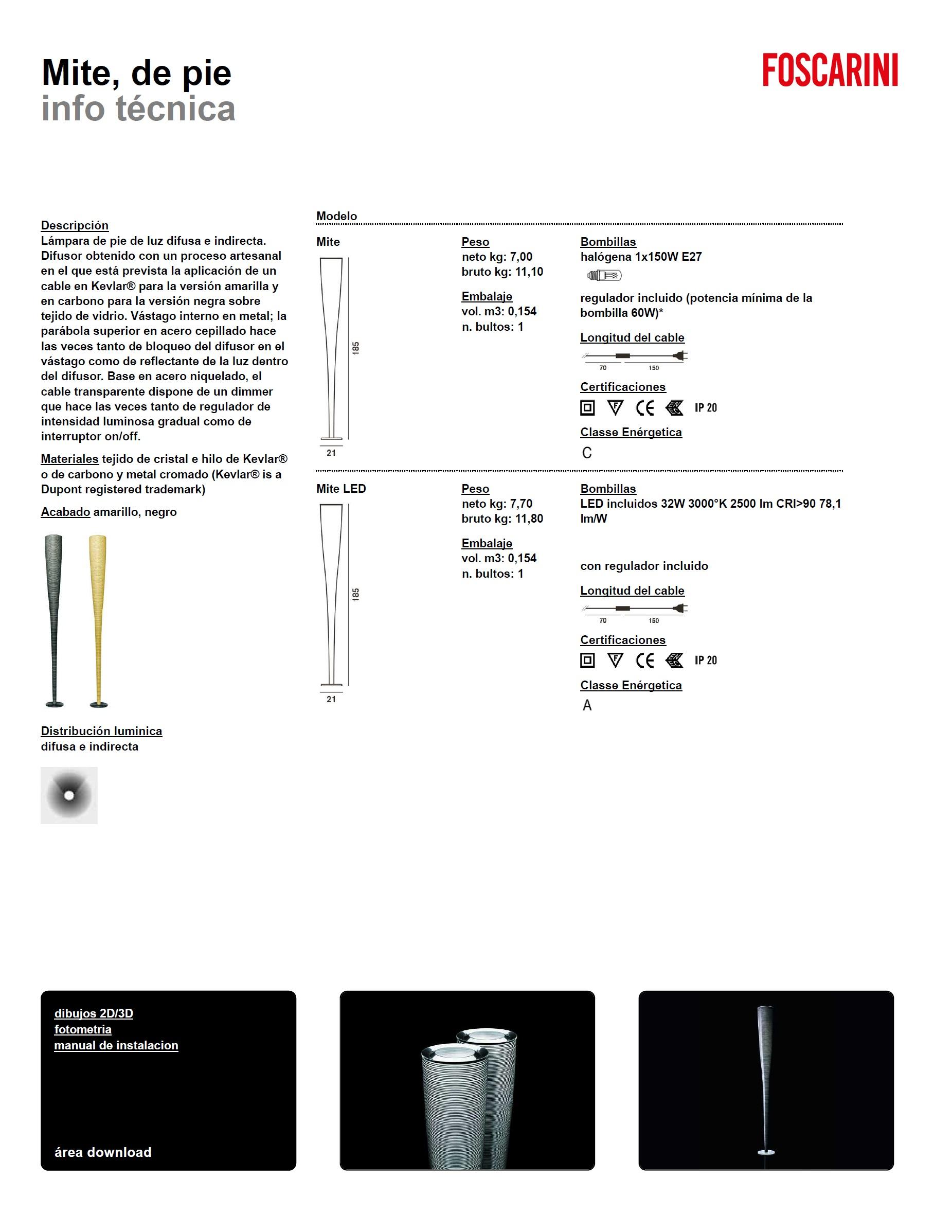 foscarini mite stehlampe led schwarz 111003l 20 l mparas. Black Bedroom Furniture Sets. Home Design Ideas