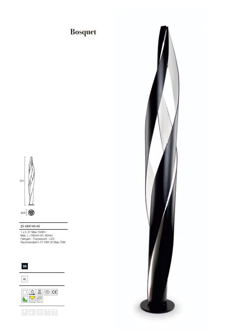 Bosquet lámpara de Pie 191cm E27 1x150w - negro mate Grok Foto