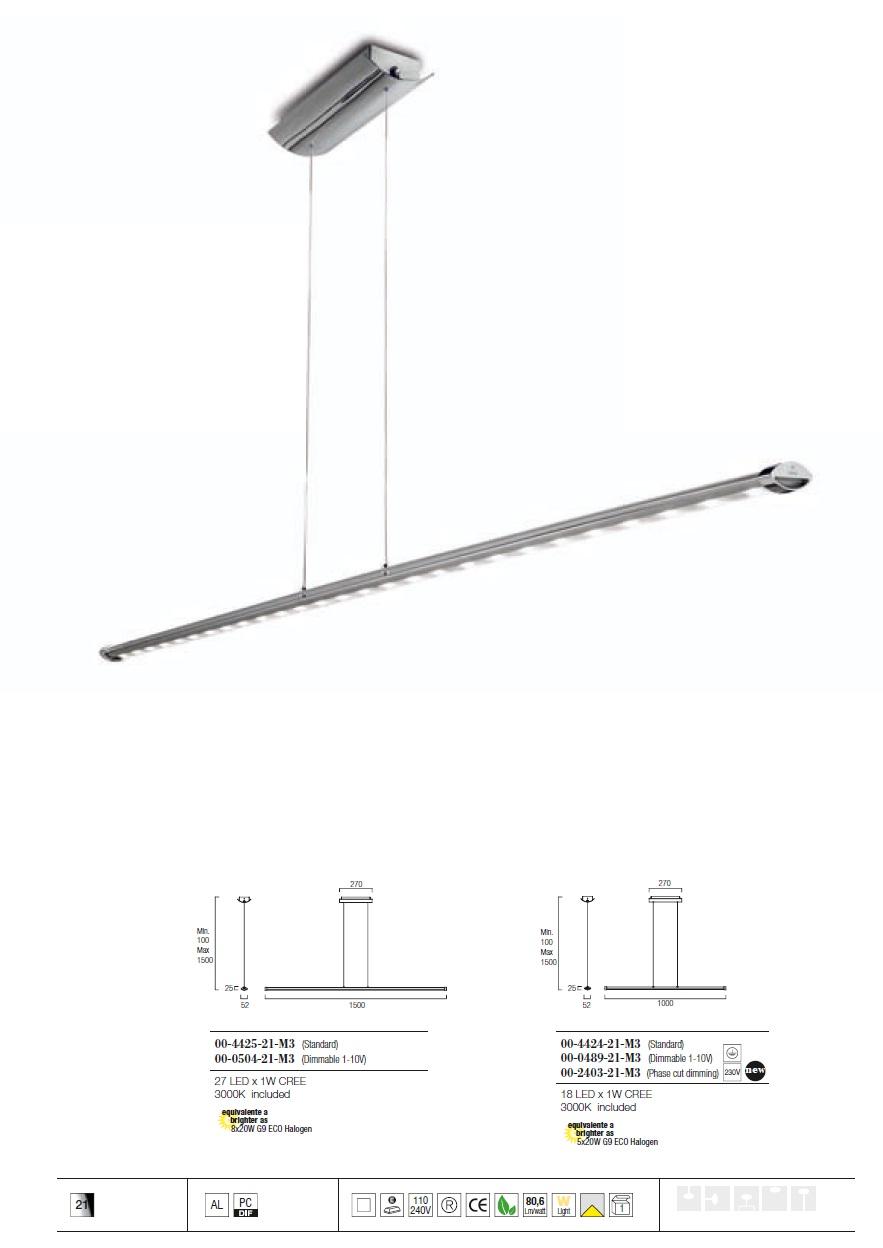 Ledagio Lámpara Colgante LED 18W 3000K - Brillante Cromo Grok Foto